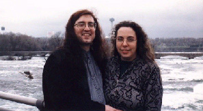 with Mark McLaughlin, World Horror Convention, Niagara Falls; photo: Dave Nordhaus, 1997